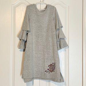 Ob.Sess Soft Gray Flutter Long Sleeve Midi Dress M